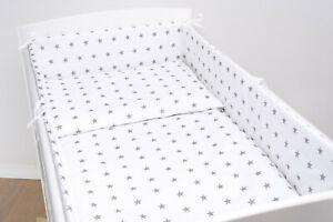 BUMPER BABY BED BEDDING 120x60 140x70 NURSERY ALL ROUND 100% COTTON PILLOW SET