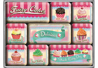 Retro 9 pc Metal Magnet Set FAIRY CAKES Vintage look Country Advert Style Fresh