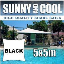 HEAVY DUTY SHADE SAIL-5x5M SQUARE IN BLACK,5Mx5Mx5Mx5M.5x5m