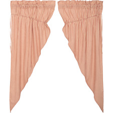SAWYER MILL RED Ticking Stripe Prairie Curtain Set Cotton Farmhouse Lined VHC