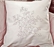 Embroidery printed Cushion Cover pillow Fuchsia flowers White cotton CSOO91