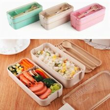 750ml 2-layer Wheat Bento Lunch Box Set with Spoon, Fork
