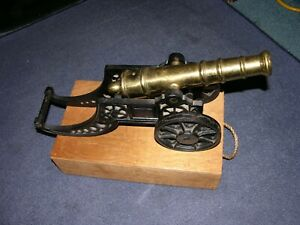 Vintage Large Brass and Cast Iron Model Non Firing Cannon 14 pounds 10 ounces