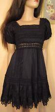 Vtg Insp Black Tiered Crochet Mexican Fiesta Boho Dress Victoria's Secret 2 S