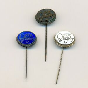 1932 Los Angeles Olympic Games Finland NOC  hallmarked silver pins 3 diff badge