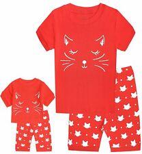 Babyroom Girls Matching Doll&Toddler Cat 4 Piece Short Cotton Pajamas Kids Cl...
