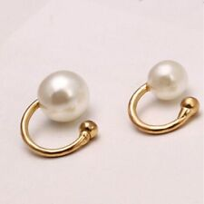 2pcs Silver Gold Pearl Wrap Ear Cuff Earring Cartilage Clip On No Piercing
