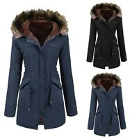 Ladies Fur Lining Coat Women Winter Warm Thick Long Jacket Hooded Overcoat Solid