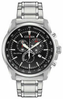 Citizen Eco-Drive Men's Chronograph Tachymeter Silver-Tone 44mm Watch AT2370-55F