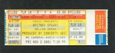 Britney Spears 2001 Unused Concert Ticket Pittsburgh Dream Within A Dream Tour