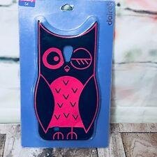 Samsung Galaxy S4 Rubber Silicon Owl Navy Blue & Pink Soft Skin Phone Cover Case