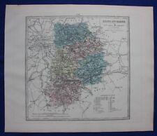 Original antique map SEINE ET MARNE, FRANCE, FONTAINEBLEAU, Le Vasseur, 1878