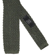 Ralph Lauren Black Label Mens Italy Solid Silk Green Knit Square Neck Tie New