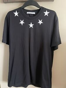 Men's  Givenchy Black T shirt With White Stars In XL