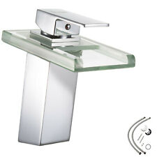 LED Bath tap waterfall chrome solid brass glass mixer basin water bathroom New