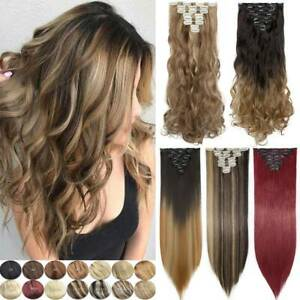 Women 8pcs Full Head Clip in 100% Natural Hair Extensions as Human Long Thick AU