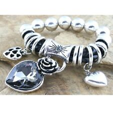 Elasticated Chunky Metal & Leatherette Bead and Link Bracelet with rhinestones