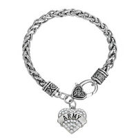 Army Classic Silver Plated Heart Crystals Military Charm Bracelet