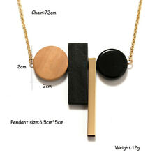 New Vintage Wood Geometric Pendant Wood Alloy Chain Long Necklace Jewelry HOT