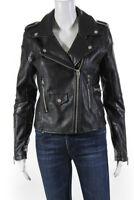 Blank NYC Womens Vegan Leather Motorcycle Zip Up Jacket Black Size S