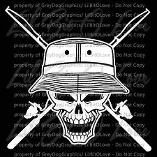 Fisherman Skull  Vinyl Decal cross Fishing Rods and Cap Hat Sticker Fish For Car