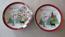 222 Fifth Merry Trees Christmas Deer 8 Appetizer Dessert Party Plates NWT