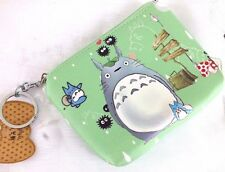 TOTORO GREEN PVC WALLET COIN WOMEN GIRL PURSE ZIP KEY RING JAPANESE PARTY A2
