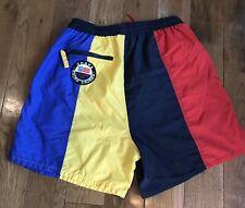 Vintage Mens Chaps Ralph Lauren Swim Trunks Blue Yellow Red Colorblock Patch L