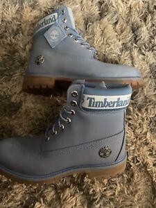 "Timberland 6"" Premium Boots Flint Grey Suede Logo Sz 8 Mens A27KD A3940"