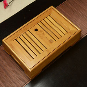 Natural Heavy Bamboo Gongfu Tea Tray Serving Tablet With Bottom Sink