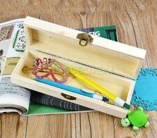 Handmade Wooden Pencil Pen Case  Hollow Storage Box Organizer White Base Gift