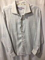 Robert Graham Men's Blue White Striped 100% Linen Button Dress Shirt Size Sz 2XL
