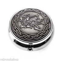 Zinn Pillendose mit Keltischer Walisischer Drache und Knott Ring Design -