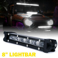 Xprite 8 inch 30W CREE LED Driving Light Bar Flood Beam Row for Truck Jeep SUV