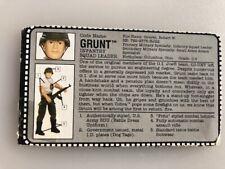 "1992 GI Joe Grunt v.1 12"" Hall Of Fame FILE CARD gray bio filecard original JTC"