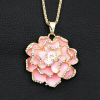 Betsey Johnson Enamel Crystal Rose Flower Pendant Sweater Chain Necklace Gift