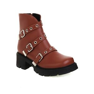 Women Biker Chunky Heel Square Toe Zip Up Ankle Boots Winter Fall College Shoes