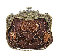 Vintage Style Bronze Floral Hand Beaded Evening Bag Handbag Purse w/ Gold Metal