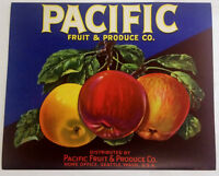 1940's PACIFIC FRUIT & PRODUCE CO. APPLE CRATE LABEL - SEATTLE, WA.