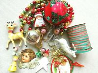 Vintage Christmas Kitsch Deer/Japan/Angel/Crinkle Tie/Bead Garland/Ornament MCM