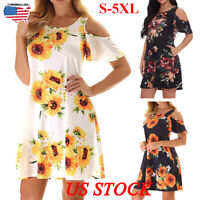 Plus Size Womens Loose Sunflower Print Midi Dresses Off-the-shoulder Sundress