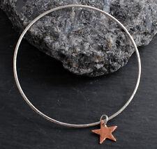HANDMADE STERLING SILVER SOLID FLAT HAMMERED BANGLE BRACELET 925 COPPER STAR