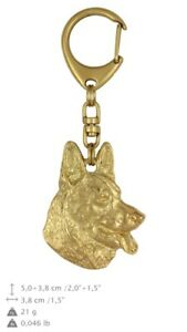 German Shepherd - gold covered keyring with dog, high quality, keychain Art Dog