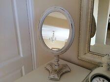 Shabby Chic  Pedestal Mirror Painted In Annie Sloans Original White