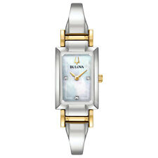 Bulova Ladies Bracelet Bangle Watch 98P188 Two Tone SS New w/Tags