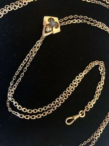 """Sapphire Pearl Victorian 61"""" Gold Filled Lorgnette Necklace w/Slide Watch Chain"""