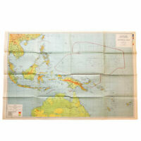 WWII 1943 War Room Pacific Theater US Plan Map 'Guadalcanal, Saipan, Guam' Relic