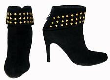 "Peeptoe ""Miss Miley"" Black Suede (Leather) Studded Ankle Boots For Women Size 41"