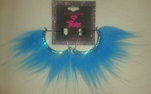 New Designer Limited Betsey Johnson XO Trolls Faux Fur Hair Blue Earrings Dangle