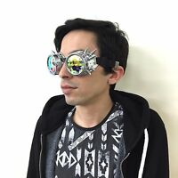 Sparkling Kaleidoscope Glasses for Parties Spiky Rivets Retro Steampunk Cosplay
